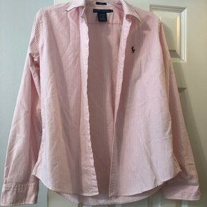 Pink and white striped Ralph Lauren button down